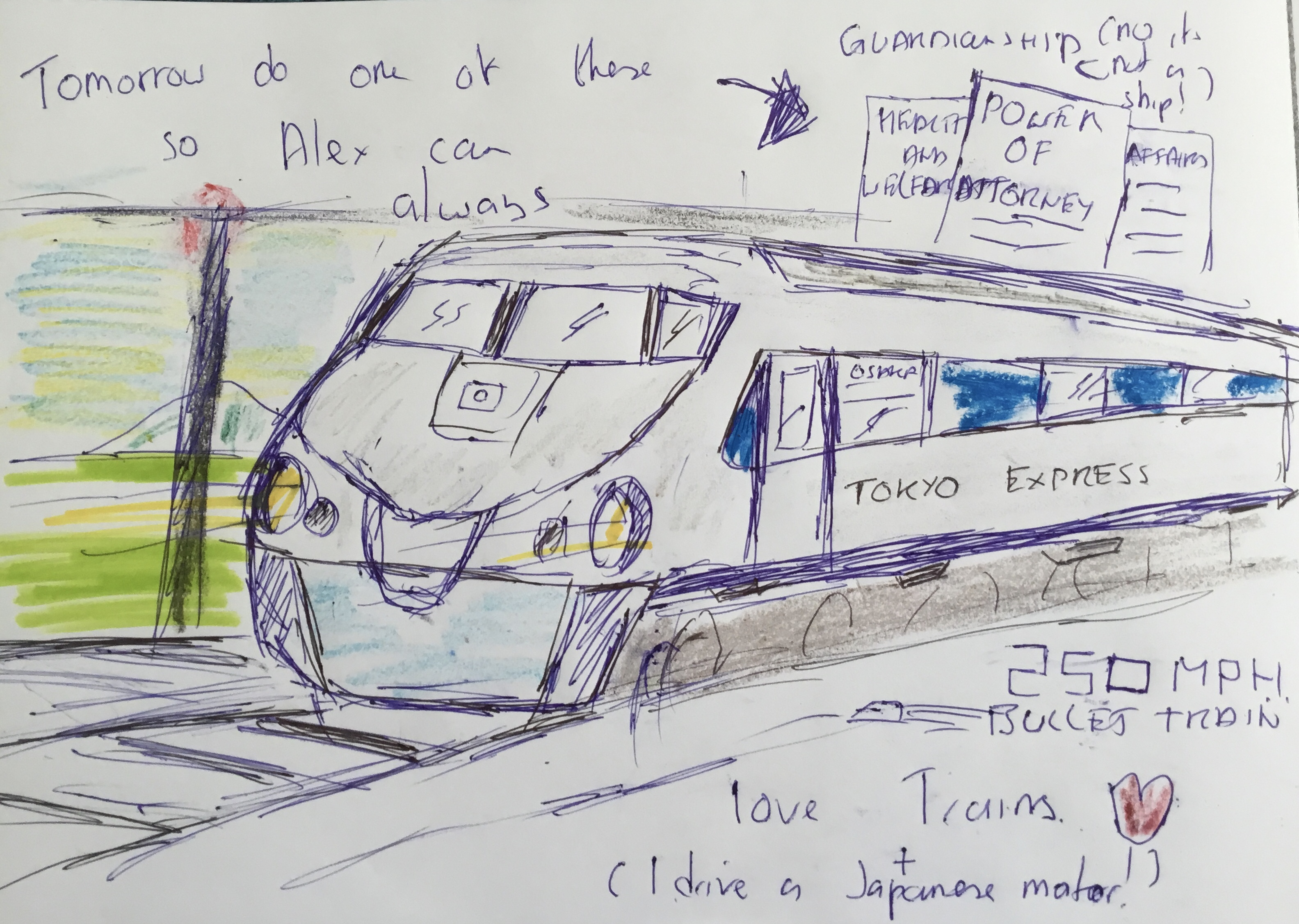 A drawing of a Japanese bullet train summarising our session on Lasting Power of Attorney